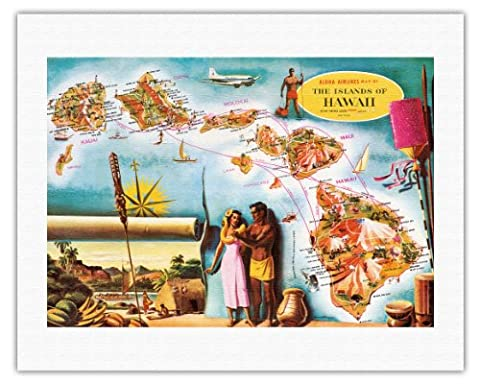 Aloha Airlines Route Map of the Hawaiian Islands - Vintage Hawaiian Colored Cartographic Map by Don Allison - Hawaiian Fine Art Print - 20in x
