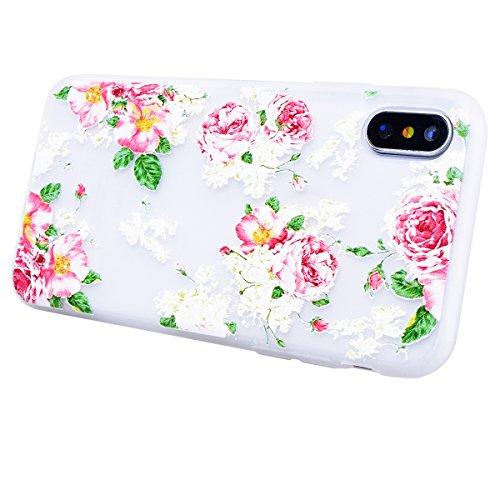 HB-Int für iPhone X Hülle Silikon Transparent Licht Durchlässig Ultra Dünn Schutzhülle Blumen Muster Flexible Case Bumper Shell Handytasche Blumen