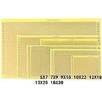 Placa PCB de 2,54 mm para mantequilla epoxi de fibra de vidrio universal de 5 x 7 x 9 9 x 15 10 x 22 12 x 18 13 x 25 18 x 30 1,2 mm de grosor, apertura de 1 mm