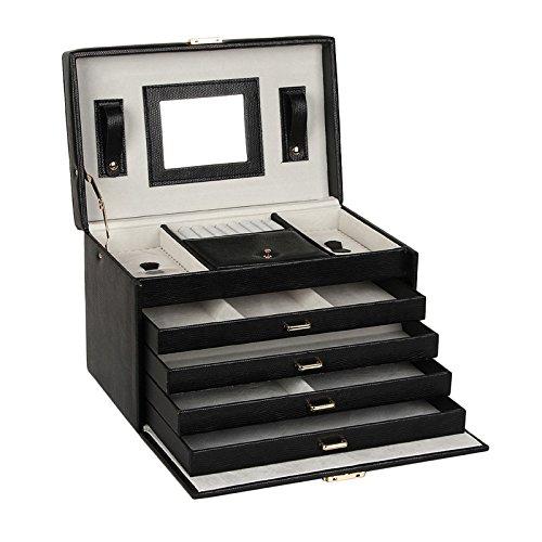 ROWLING schwarz Leder Schmuck Box große Platz Uhr Ohrring Ring Aufbewahrungsbox Fall mit 4Schubladen und Spiegel zg-106 - Vier Plätze