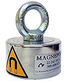 magnepol Magnethalter mit Rund Neodym-Magnet und Splintbolzen N50| 926lbs (420kg) Zugkraft, Durchmesser 8,2cm (: 3,25mm | Treasure Hunter Seeker