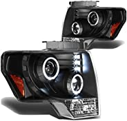 DNA Motoring HL-HAP-F15009-LED-BK-AM Black Housing Amber Corner Halo Ring Projector Headlights Replacement For