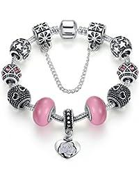 Carina Sterling Silver Love Pandora Rose Pink Charm Bracelet for Women Girls