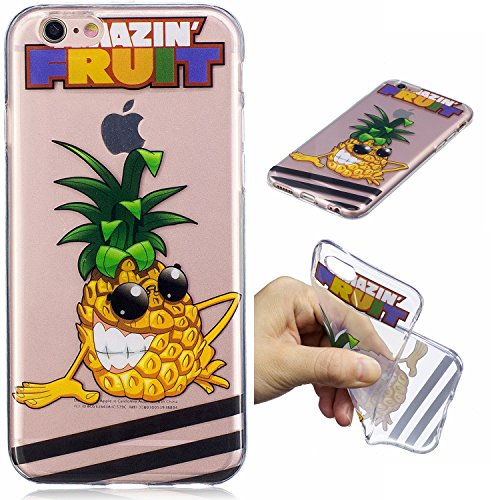 Cover iPhone 6S Plus, Custodia iPhone 6 Plus, CaseLover Custodia per iPhone 6S Plus / iPhone 6 Plus (5.5 Pollici) Ultra Sottile Trasparente Morbida Gomma Gel TPU Silicone Protectiva Corpeture Flessibi Ananas