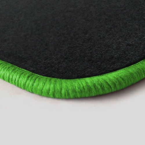 Preisvergleich Produktbild (Randfarbe nach Wahl) Passgenaue Fußmatten aus Nadelfilz Graphit mit kawagrünem Rand (507)