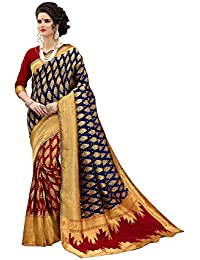 Stylefabs Women's Red And Navy Blue Banarasi Silk Saree With Blouse Piece