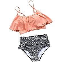 Blazar Trajes de Baño Mujer Cintura Alta Ropa de Baño Push Up 2017 Bikini Conjuntos 2 Piezas Acolchado para Playa, Piscina, Fiesta, Natación, Rosa S/XL