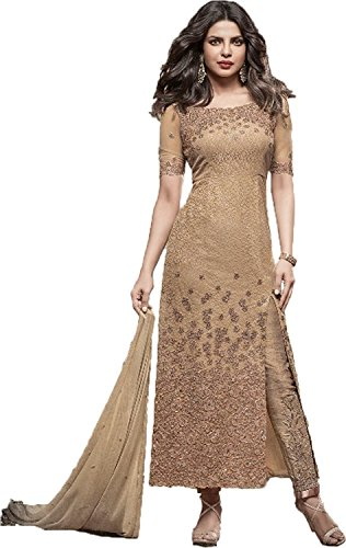 Clothfab Women's Net Embroidered Sequined Work With Stone Work Pary Wear Semi-Stitched...