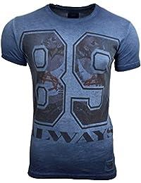 T-Shirt Kurzarm Herren Rundhals Stone Washed Optik Batik Shirt RN-16731 AVRONI, Größe:XL, Farbe:Blau