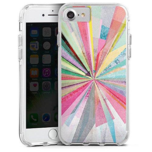 Apple iPhone 6 Bumper Hülle Bumper Case Glitzer Hülle Regenbogen Rainbow Farben Bumper Case transparent