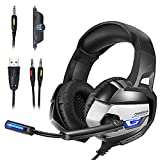 Cuffie Gaming, AxCella Cuffia da Gioco con Microfono Stereo y Jack da 3.5 mm, Gaming Headset Multi-Platform Confortevole Cuffia di Controllo del Volume LED per PS4 Xbox One PC Tablet Laptop (Nero + Grigio)