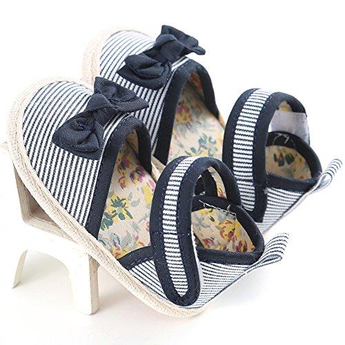 Confortevole Scarpine Neonata per Bimba Non Scivoloso Scarpine a Righe Sandali con Cravatta a Farfalla per le Neonate di 0-18 Mesi (Blu, L) Blu