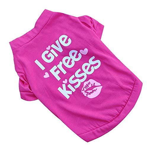 I Give Free Kisses Haustierhemd, Bedrucktes Hündchenhemd Weiche Weste Für Haustierbekleidung Im Sommer, Blau, Lila, - Verschiedene Kiss Kostüm