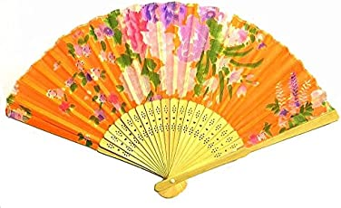AUM Colorful Floral Pattern Hand Held Folding Bamboo Japanese Silk Hand Fan (Orange) Gift Fan for Girls Women Wedding Favor Party Decoration. Buy 100% Original Imported Hand Fan from Aum Impex Only