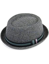 00626e7aafb21 TWEED PORK PIE HAT WITH STRIPE BAND HIGH QUALITY - LIGHT GREY by Hawkins