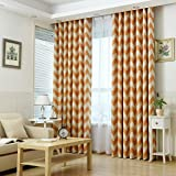 Hoomall Décoration de Fenêtres Rideau à Oeillets Occultant Rideau Chambre Motifs Ondulés Couleur Blanc Jaune Polyester 132x160cm 1 PC