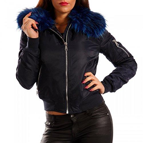 Young-Fashion - Blouson - Blouson - Uni - Manches Longues - Femme Blau/Blau Fell