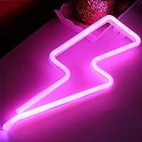 XIYUNTE Neón Lights Luces de la noche - LED relámpago Modelado Lámparas Neon Lámpara de pared, (Operación de batería & USB)Lámparas de mesa y mesilla de noche, Iluminación de interior infantil,Decoración del hogar