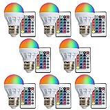 (8-PACK) LED RGBW Lampe XJLED Magic Dimmbare 3W LED RGB Glühbirne E27 Fassung mit RGB und Kaltweißem Licht, 16 Farben, 160°Abstrahlwinkel RGB Glühbirne mit Fernbedienung