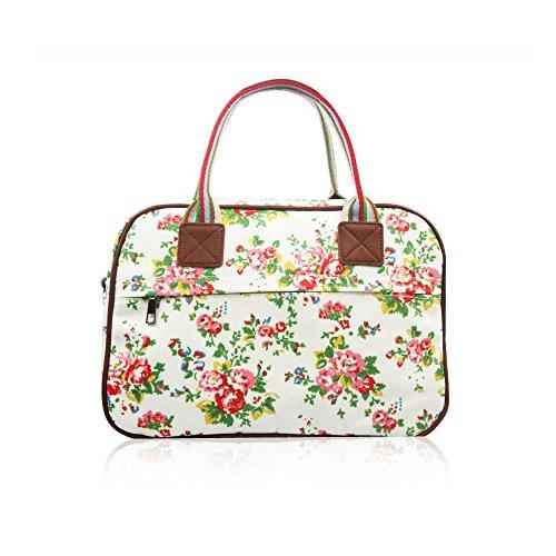 HB Style, borsa di grandi dimensioni in tela opaca, con fantasia vintage a fiori White