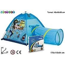 Tienda castillo cigioki con túnel motivo Piratas Color azul / 170x112x94 cm