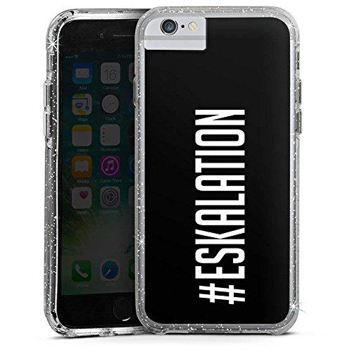 Apple iPhone 7 Bumper Hülle Bumper Case Glitzer Hülle Eskalation Party Spruch Bumper Case Glitzer silber