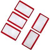 Anddas Lupa Tarjeta de crédito de la carpeta de tamaño de bolsillo lupa lupa de la lente de Marco Rojo (5pcs)