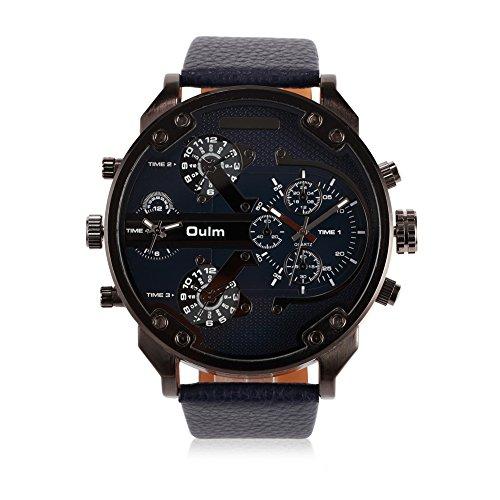 ILove EU Montre-bracelet homme, quartz japonais, analogique, quatre mouvements, 4fuseaux horaires, montre de luxe avec cadran bleu foncé et bracelet en cuir