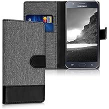kwmobile Funda para Samsung Galaxy J5 (2015) - Wallet Case plegable de cuero sintético - Cover con tapa tarjetero y soporte en gris negro