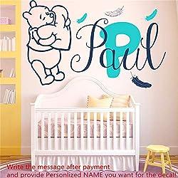 Stickers muraux Bébé Winnie L'Ourson Plumes Vinyle Autocollant Personnalisé Personnalisé Nom Bébé Fille Garçon Chambre Sticker Mural