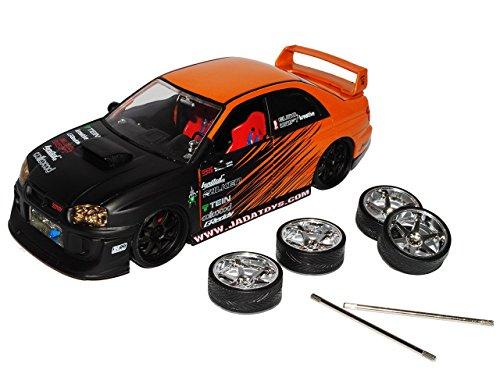 Subaru impreza Wrx Sti Orange Schwarz Tuning Extra Felgen 1/24 Jada Modellauto Modell Auto