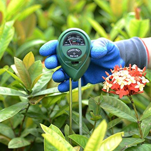 Bodentester Feuchtigkeitsmesser / Licht und PH-Säuretester / Pflanze Bodentester-Kit (Gartenhandschuh geschenkt) von ZAPO