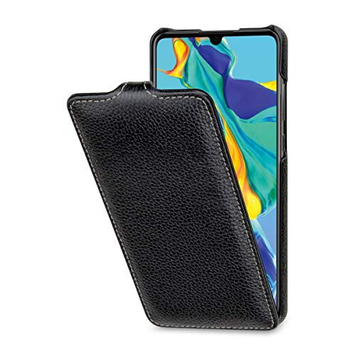 StilGut Leder-Hülle kompatibel mit Huawei P30 vertikales Flip-Case, schwarz Flip Leder Hard Case