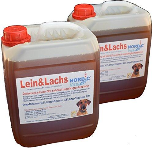 NordicVital Lein&Lachsölmischung, Omega-3,6 u.9 Öl, 2 x 5L Kanister, Hunde, Barfen