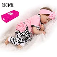 Decdeal 22inch 55cm Silicone Reborn Toddler Baby Doll Girl Sleeping Doll Boneca With Clothes Lifelike Cute Gifts Toy Pink Cow