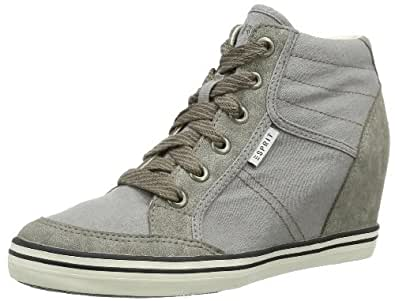 ESPRIT  Gladys Lace Up, Hi-Top Slippers femme - Gris - Grau (pebble grey 041), 42 EU