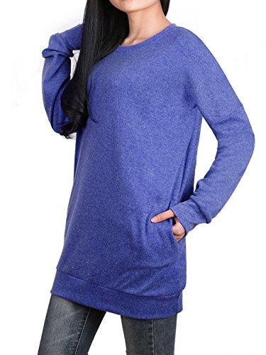 Anna Smith Womens Pullover, Wear Bodenbildung Extra Langarm Sweatshirt Stretchable Abgerundete Kragen Tunika Tops für Leggings mit Band Versehen Bottom Knit Pullover Blau Navy M (Womens Knit Leggings)