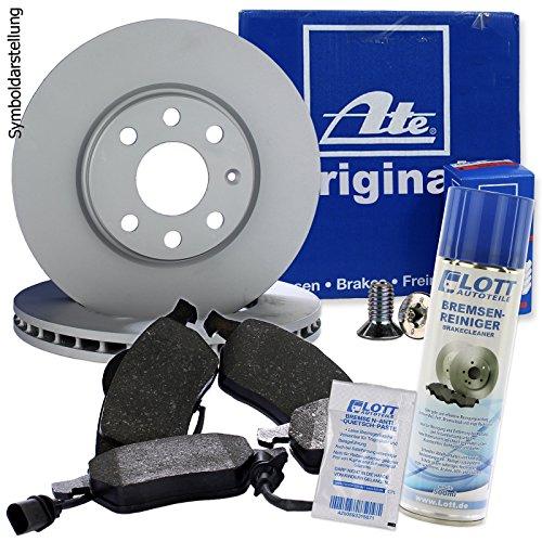 Preisvergleich Produktbild Original ATE Bremsscheiben vorne + ATE Bremsbeläge Bremsklötze Bremsenset Bremsenkit Komplettset Vorderachse + Bremsenreiniger