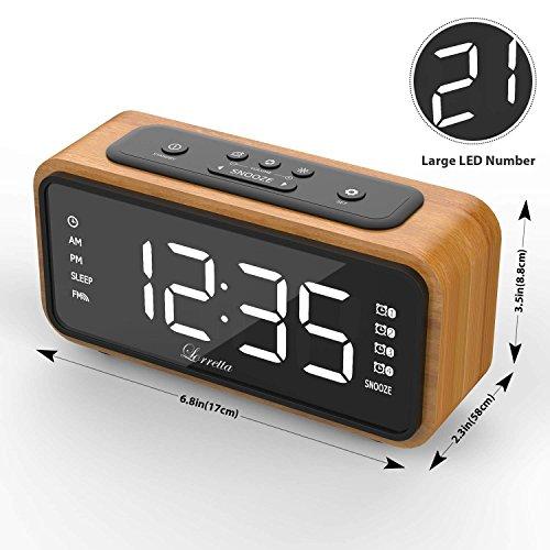"""[Neue Version] Radiowecker Funkuhr Digital,Lorretta Radiowecker Digital Mit Holz-Korn Retro,FM Uhren-Radio Mit Nachtlicht-Funktion,Digitales LED Wecker mit 6.5 \""""/ 165mm LED-Display / 4 Alarmfunktionen mit Snooze / Dimmer/Anpassbare"""