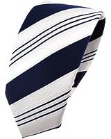 schmale TigerTie Satin Krawatte in blau dunkelblau weiß silber gestreift - Schlips Binder Tie