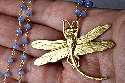 Collier avec pierres précieuses de calcédoine et libellule CIEL ET TERRE