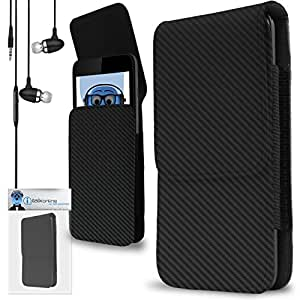 iTALKonline Samsung Galaxy On5 Carbon Fibre / Fiber Black PREMIUM PU Leather Vertical Executive Side Pouch Case Cover Holster with Belt Loop Clip and Magnetic Closure Includes Carbon Fibre / Fiber Black Premium 3.5mm Aluminium High Quality In Ear Stereo Wired Headset Hands Free Headphones with Built in Mic Microphone and On Off Button