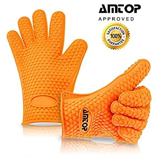 Best Heat Resistant Silicone Oven & Barbecue Gloves, BBQ Grilling Gloves, Kitchen Cooking Gloves, Special for Cooking / Food Prep / House Cleaning / Kitchen / Pot Holding, Dishwasher Safe, Premium Grade FDA Approved - 1 pair (Orange)