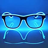 GCBTECH El Wire neon LED Maschera Occhi Occhiali, partito Unisex adulti e bambini occhiali con controllo vocale per Feste Natale Danza Bar Club Partito Rave Christmas (blu)
