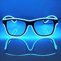 GCBTECH El Alambre Gafas LED Luz de Neón Alambre Novedad Shutter Gafas con Control de vozpara Concierto Concierto Nuevo Loco DJ Disco Club Bar Halloween Navidad Festivales (Azul)