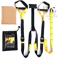 Beyoung® Suspension Strap Training Kit - Military Suspension Strap Trainer For Home Workout Gym Resistance Training Crossfit (Black)