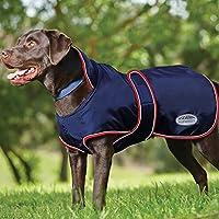Weatherbeeta, giacca anti vento impermeabile foderata in pile per cani, dotata di fascia in corrispondenza dell'addome, colore blu/rosso
