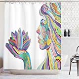 ABAKUHAUS Oeste Cortina de Baño, Yoga Espiritual Mujer con Flor de lotos Líneas Ornamentales Diseño Boho Zen, Estampa Digital Colores Duraderos Material Lavable Antimoho, 175 x 200 cm