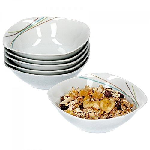 Van Well aliha Lot de 6 Bol à céréales, bol à soupe Petit Bol, Ø 14,3 cm, 300 ml, ligne décor, élégant Porcelaine de Marques