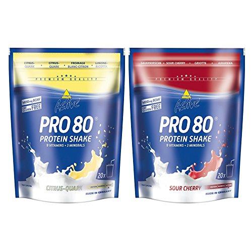Inko Active Pro 80 Proteinshake 2 Beutel (2 x 500g = 1kg) Citrus-Quark & Sauerkirsch
